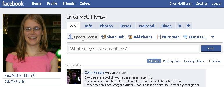 Erica's Facebook
