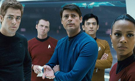 Chris Pine as Kirk, Simon Pegg as Scotty, Karl Urban as Bones, John Cho as Sulu, and Zoe Saldana as Uhura