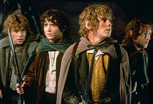 Sean Astin as Sam, Elijah Wood as Frodo, Dominic Monaghan as Merry, and Billy Boyd as Pippin