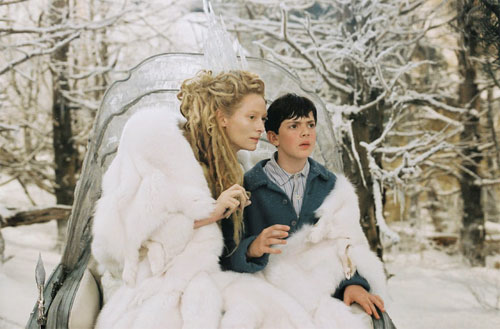 Tilda Swinton as the White Witch and Skandar Keynes as Edmund