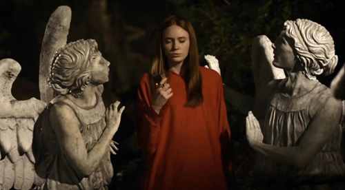 Blind Amy navigates through the Weeping Angels