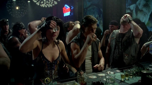 Sookie and the werewolves do shots.