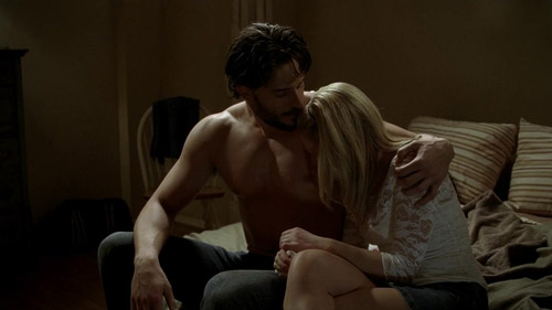 Sookie cries on Alcide's naked werewolf chest.