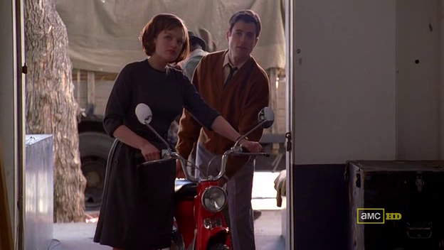 Mad Men 4x05 Peggy and John with the Honda motorcycle