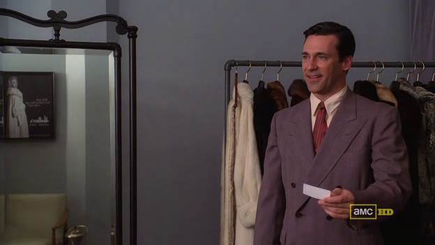 Mad Men 4x06 Don in the fur store 1950s