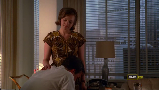 Mad Men 4x07 Don cries over Anna while Peggy comforts him