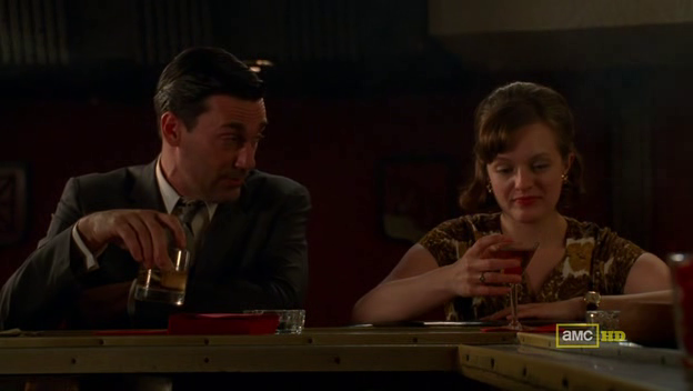 Mad Men 4x07 Don and Peggy in a bar