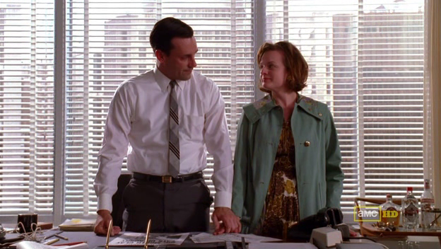 Mad Men 4x07 Don and Peggy hold hands