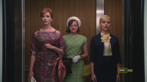 Mad Men 4x09 Joan, Peggy, and Faye in the elevator