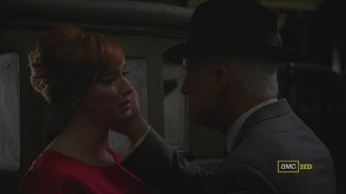 Mad Men 4x09 Joan and Roger have sex in an alley