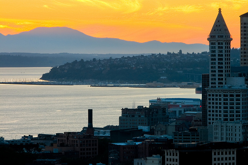 Smith Tower at Sunset by Jeff Brownell