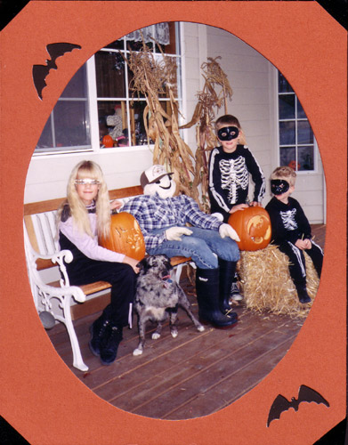 Erica and her brothers getting ready for Halloween.