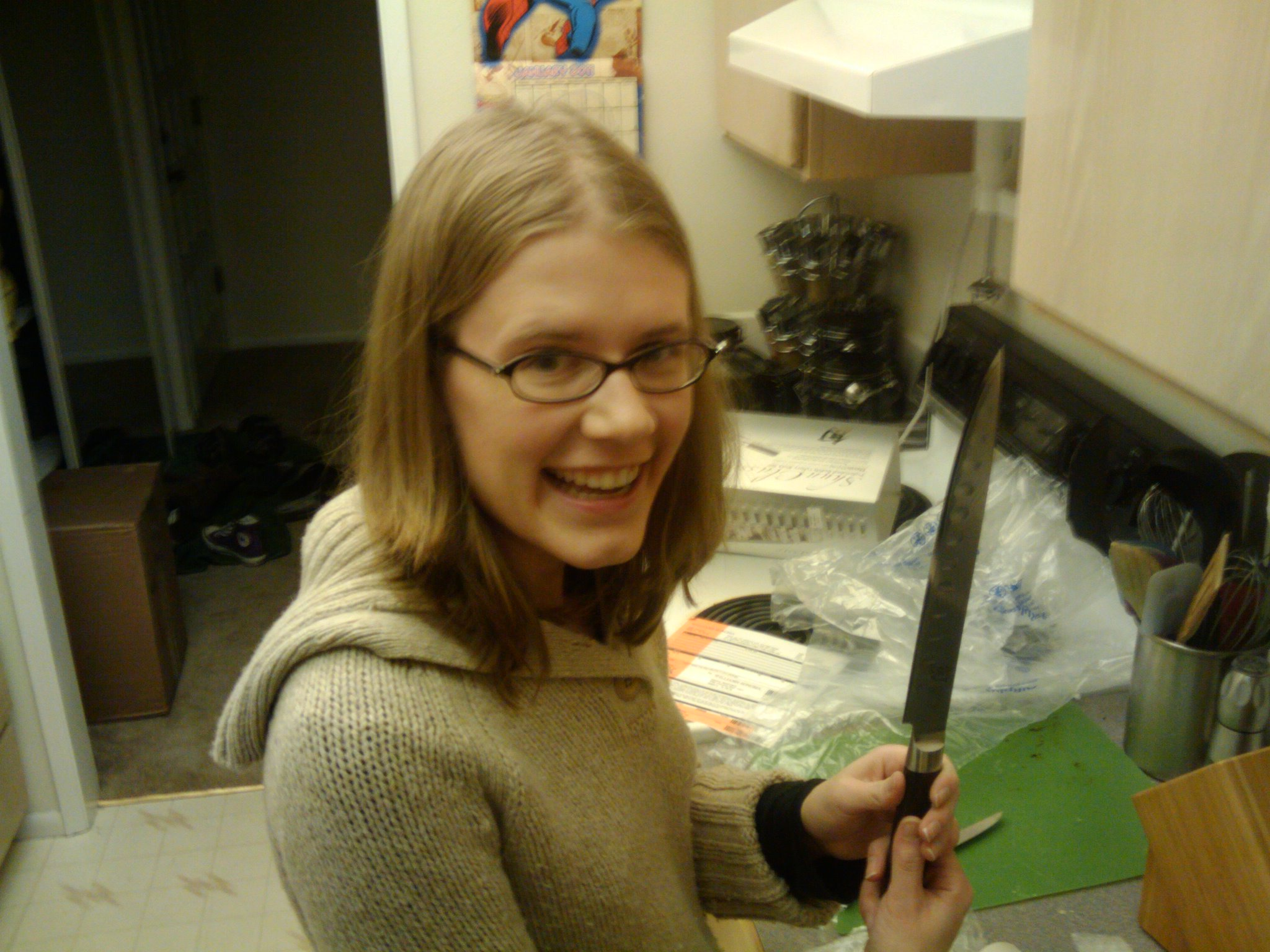 Check out me and my new knives.