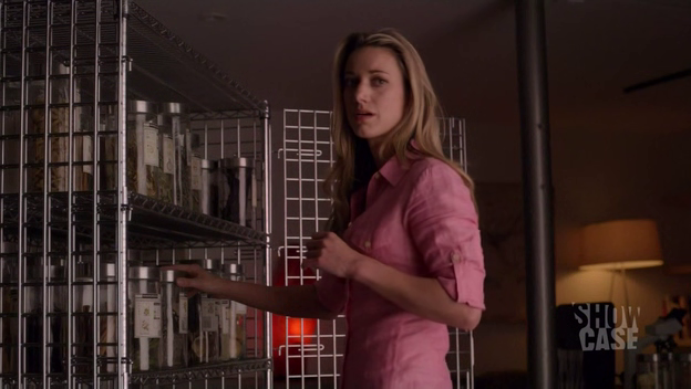 Lauren and her cage of meds