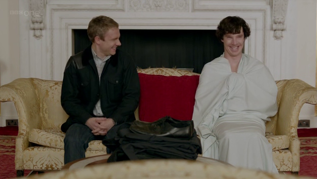 John and Sherlock in Buckingham Palace