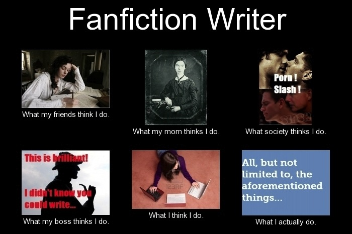 What a fanfiction writer does and other think they do.