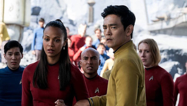 Uhura, Sulu, and other Enterprise crew members trapped together