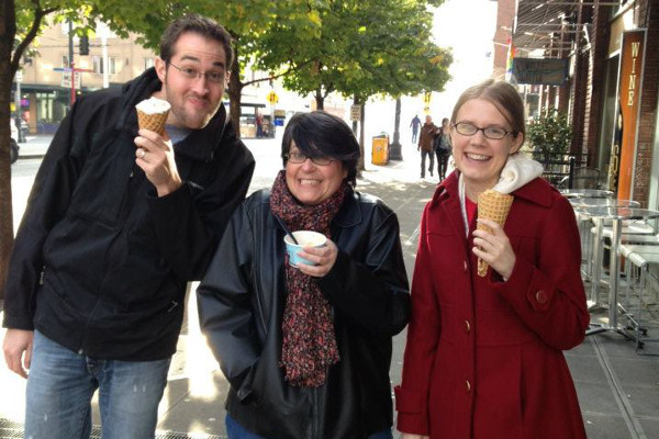 Casey, Jen, and Erica eat ice cream