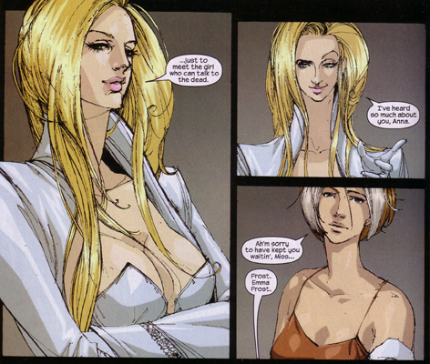 Emma Frost and Rogue have really long necks in X-Men Fairy Tales #4