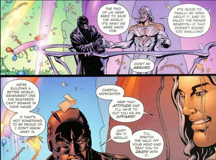Apollo and Midnighter banter about their differences in attitudes.