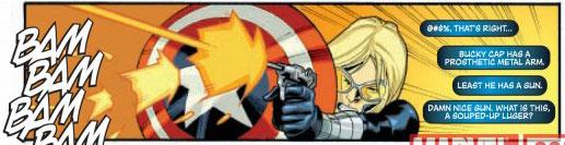 Bobbie uses Bucky's shield.
