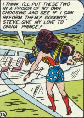 Wonder Woman hauls Nazis off to her own prison.