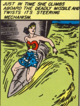 Wonder Woman rides her first missile.