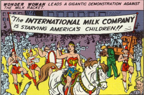 Wonder Woman, rodeo princess of the demonstration, sponsored by milk