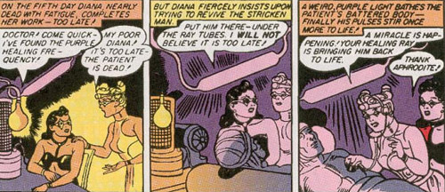 Diana revives Steve with a purple light