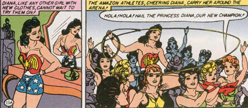 Diana tries on her Wonder Woman costume and gets a parade
