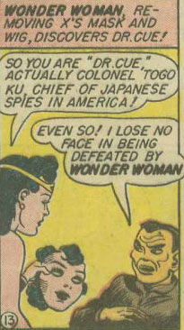 Dr Cue's racism characture in Wonder Woman