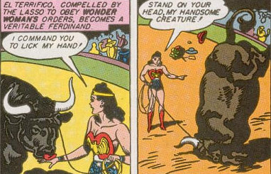 El Terrifico stands on his head for Wonder Woman.