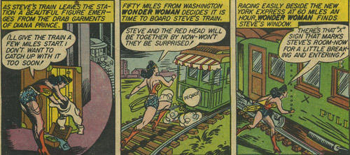 Sensation Comics #10 Wonder Woman chases as a a train
