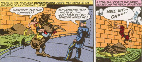 Wonder Woman takes a horse onto a u-boat.
