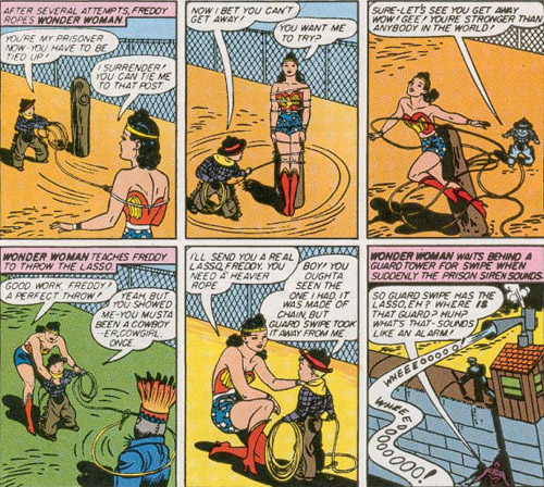 Wonder Woman teaches Freddy to rope.