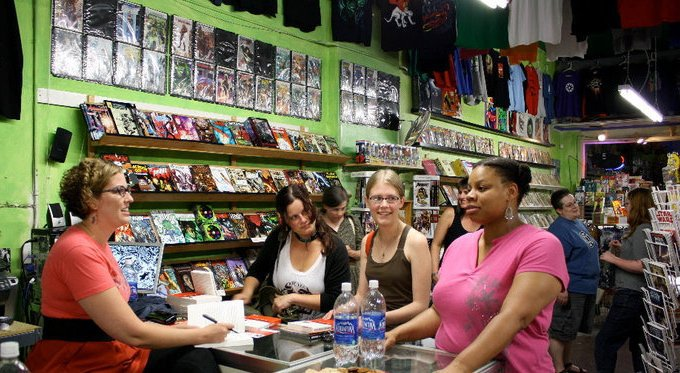 Ladies Comic Night at the Comics Dungeon Jennifer, Amanda, Erica, and Uhura