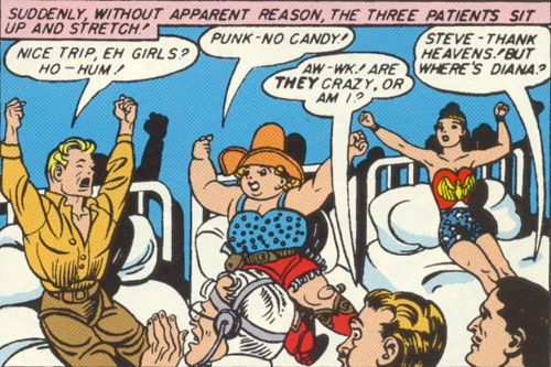 Sensation Comics #11 Steve Trevor, Etta Candy, and Wonder Woman
