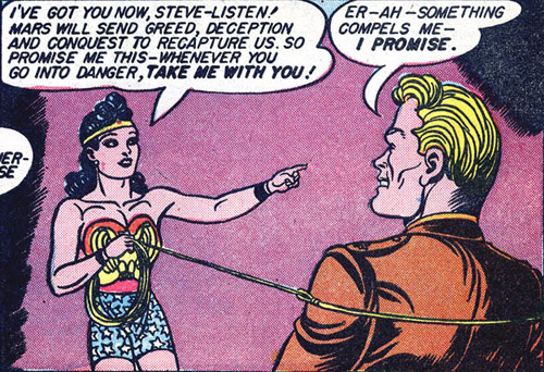Wonder Woman ties Steve up