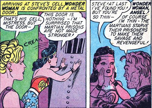 Steve Trevor is weak from his prison time on Mars.