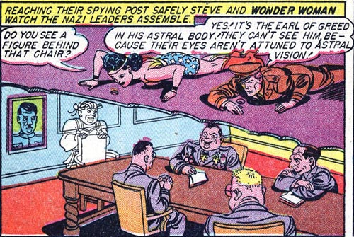 Wonder Woman and Steve spy on the big Nazi meeting