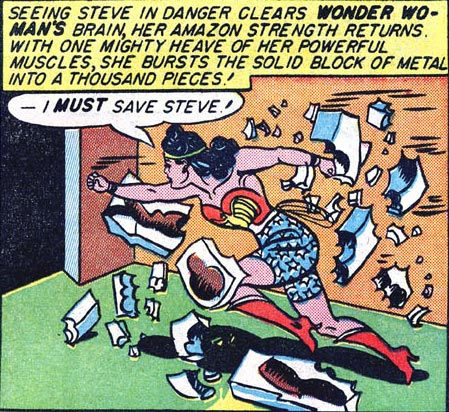 Golden Age Wonder Woman breaks gold to save the day.