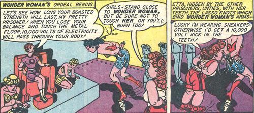 Wonder Woman balances on a milk bottle