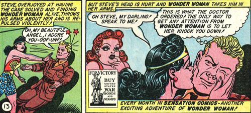 Wonder Woman knocks Steve down
