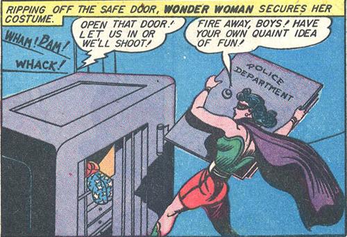 Wonder Woman rips open a safe