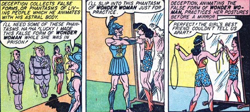 Wonder Woman #2 Deception tries on his Wonder Woman phantasm