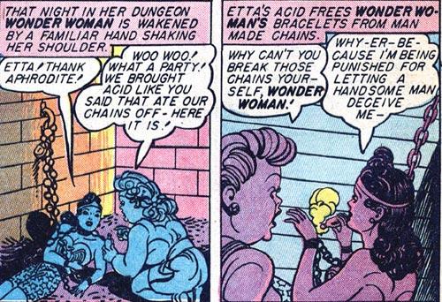 Wonder Woman #2 Etta saves Wonder Woman from Mars' prison with acid.
