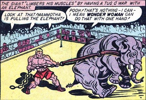 Wonder Woman #2 Mammotha pulls an elephant