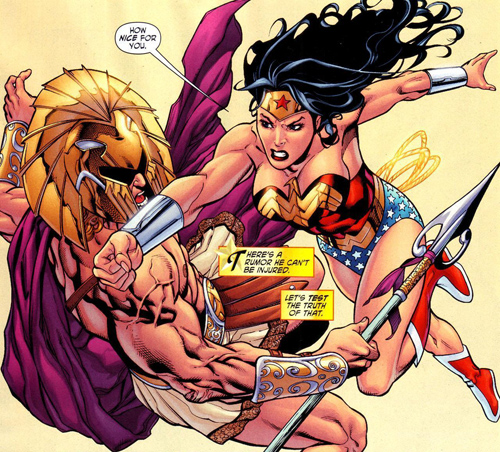 Achilles and Wonder Woman fight