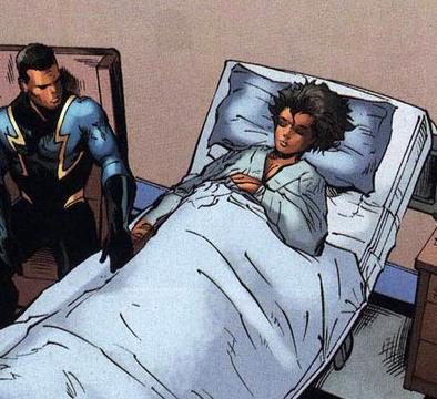 Black Lightening at his daughter's bedside.