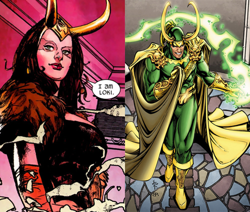 Loki in both female and male forms